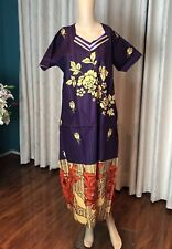 "46"" XL Cotton Nightie Indian Housecoat Ladies Summer Night Dress Purple B13"