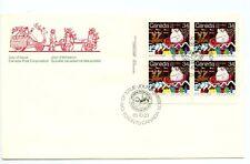 Canada FDC Plate Block Christmas #1067 Santa Parade Sleigh 1985 LL H274