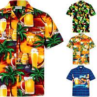 Chemise Hawaïenne Homme / 100% Coton / Taille S–8XL / Bière / Cocktails / Hawaii