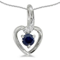 "10k White Gold Round Sapphire And Diamond Heart Pendant with 18"" Chain"