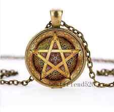 Bronze Pendant Necklace jewelry Celtic Golden Pentacle Cabochon Glass