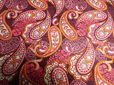 LARGE PINK WINE ORANGE PAISLEY FLOWER FABRIC~SEW-RAG BLANKET--PRETTY--BTY SALE