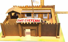 Vintage 1950s Wooden Play Toy Set Fort Cheyenne Western USA Cowboys Indians Marx