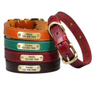 Personalized Leather Dog Collar Custom Nameplate Engrave ID for Small Large Dogs