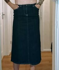 New BODEN high waisted dark blue navy denim winter long skirt petite extra small