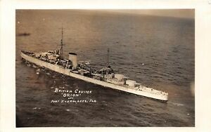 "H60/ Ship RPPC Postcard British Cruiser Navy ""Orion"" Port Everglades Florida 112"