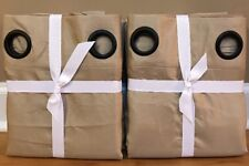 "NEW 2PC Pottery Barn Silk Dupioni GROMMET BLACKOUT 50"" x 96"" Drape Set PARCHMENT"