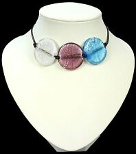 PURPLE BLUE CLEAR murano FOIL GLASS leather NECKLACE
