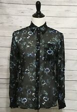 HAUTE HIPPIE  M Cowl Back Button Down 100% Silk Blouse Tangled Up In Blue $295