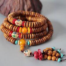 8x3mm Tibet Buddhism 216 Yellow Sandalwood beads Prayer Bead Mala Necklace