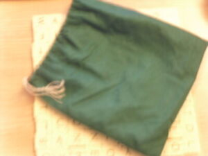 Vintage - Original Scrabble Green Cloth Bag + 100 Tiles