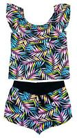 Girls Top Gypsy Shorts Outfit Neon Tropical Flower 2 Piece Summer 7 to 14 Years