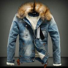 Mens Thick Fleece Lined Denim Jeans Coat Winter Warm Fur Collar Hooded Jacket US