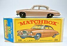 Matchbox RW 28C Jaguar Mk10 braumetallic 2.Version unlackierter Motor top in Box