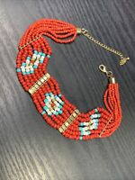"""Vintage Bohemian Choker Turquoise red whiteGlass  seed bead  necklace 12-15"""""""