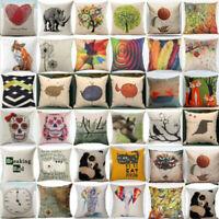 Home Decor Throw Pillow Cover Case Linen Cotton Sofa Car Waist Cushion Cover