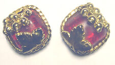 Vintage DOMINIQUE AURIENTIS PARIS Leaf BERRY Red GRIPOIX GLASS EARRINGS France