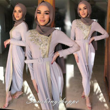 Women Embroidery Abaya Jilbab Dress Dubai Party Gown Islamic Ramadan Clothing