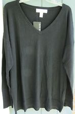 Pure Energy Black Lightweight Pullover V-Neck Long Sleeve 1X Sweater Top NWT