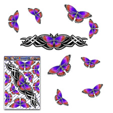 Butterfly Animal Car Sticker Silver Large Vinyl Bumper Decal Pack St021sl3