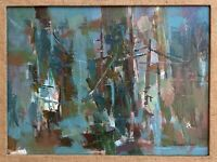 Superb Vintage Abstract Oil Painting Wall Hanging Mid Century Modern Signed
