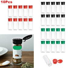 US 10Pcs Plastic Salt Pepper Seasoning Jars Condiment Bottles Cruet Container