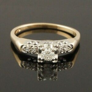 1950's Two Tone Solid 14K Gold & .42 CTW Diamond Engagement Ring, Wedding Band