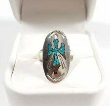 NAVAJO JOLEEN YAZZIE STERLING SILVER THUNDERBIRD TURQUOISE & CORAL SIZE 7 RING