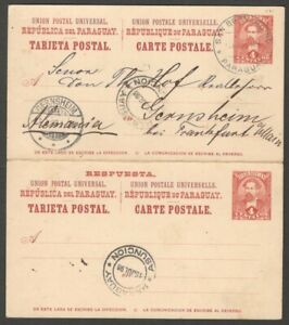 Paraguay 1896 4c+4c reply postal card used to Germany - intact HG #12