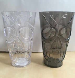 Skull Plastic Glass Tumbler Halloween Party Drink Reusable Clear Black Kids Cup