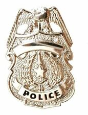 Shield Nickel Plated Policeman P3601N New Police Officer Tie Tac Badge Eagle Top
