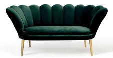 Sofa 170 cm Grün ALASKA Wellenfeder Zweisitzer Velour Modern Couch Wohnzimmer