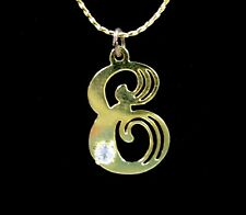 The LETTER E, Initial Pendant  RHINESTONE Vintage NECKLACE Goldtone Chain 16""