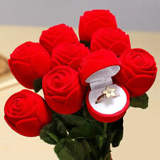 Charm Red Rose Flower Ring Earring Necklace Jewelry Gift Case Boxes Display Pack