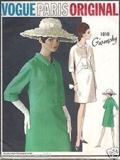 VINTAGE anni'60 VOGUE 1818 Paris originale GIVENCHY Cappotto Vestito Sewing Pattern B36