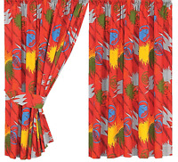 """100% COTTON POWER RANGERS JUNGLE FURY CURTAINS 66"""" X 54"""" DROP RED BLUE GREEN"""
