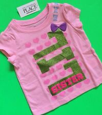 "NEW! ""LIL SISTER"" Baby Girls Little Graphic Shirt 4T Gift! Pink Sibling Cute! SS"