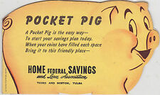 NOS 1950s BANTHRICO BANK Pocket Pig Coin Holdier -  HOME FEDERAL SAVINGS