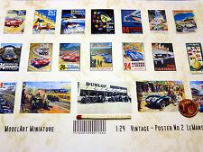 19 vintage póster Lemans en 1:24-1:25 para diorama, tren de ranura, enormemente, taller