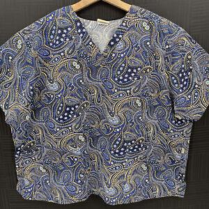 Tafford Uniforms Womens Plus Size 4XL Multicolor Paisley Dots Medical Scrub Top