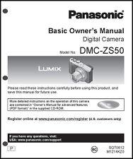 Panasonic DMC-ZS50 Basic  Digital Camera User Guide Instruction  Manual