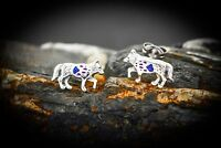 Wolf Earrings 925 Sterling Silver with Sugilite and Lapis lazuli Paw