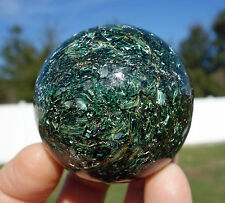Green Kyanite in Fuchsite & Shimmery Mica with Green EMERALD CRYSTAL Sphere
