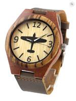 Hurricane motif watch, wooden case, M/F, Friend or Foe, Miyota Quartz, Aviation