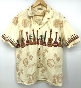 Made in Hawaii Pacific Legend Shirt Button Down Ukelele Records Yellow XL