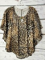 Notations Women's Top Blouse Leopard Animal Print Batwing Sleeves Lined Small S