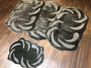 ROMANY WASHABLE TRAVELLER MATS SET NON SLIP SUPER THICK RUGS DARK GREY CHARCOAL