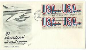 '68 20c International air mail stamp B4 on Fleetwood SC#C75