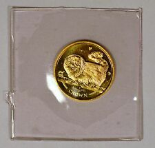 1997 Isle Of Man 1/25 Crown gold Long Haired Smoke Cat coin