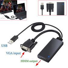 1080P VGA auf /zu HDMI HD Ausgang +Audio TV AV HDTV USB Kabel Konverter Adapter